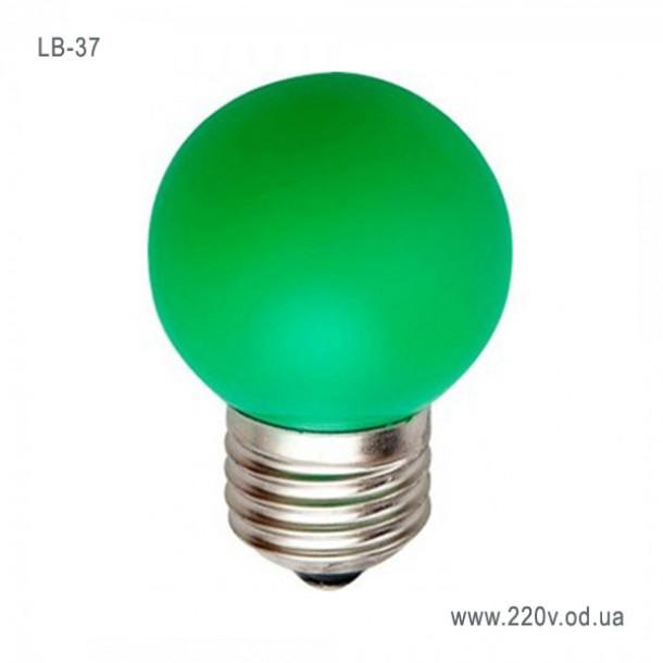 Лампа Feron LB-37 светодиодная G45 1W  E27 зеленая